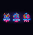 big set neon signboard theme beer beer pub neon vector image