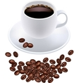 black coffee in white cup and grains vector image vector image