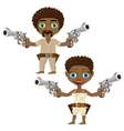 Black man and woman with guns two characters vector image