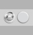 blank badge 3d white round button pin button vector image