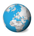 blank political map of europe 3d earth globe with vector image vector image