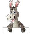 cartoon funny donkey holding blank sign vector image