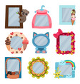 collection of cute photo frames album templates vector image vector image