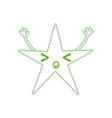color line sleeping shiny star kawaii with arms vector image