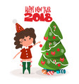 cute girl decorating christmas tree flat vector image