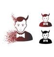 dissolving dot halftone devil icon vector image vector image