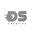 ds d s zebra letter logo design with black and vector image