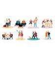 elderly people color set vector image
