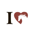 emblem of horse in heart vector image vector image