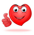 emoticon heart shaped face showing thumb up vector image