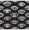 ethnic eyes seamless pattern black background vector image
