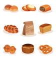fresh baked bread and bakery pastry products set vector image vector image