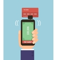 Hand holding smartphone with bank card Mobile pay vector image