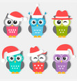 icons cute owls with christmas hats vector image