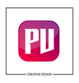 initial letter pv logo template design vector image vector image