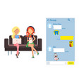 kakao talk korean messenger in laptop and tablet vector image vector image