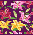 lily flower seamless pattern on purple background vector image