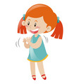 little girl in blue dress clapping hands vector image