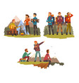 men travelling together camping people tourists vector image vector image