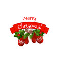 merry christmas mittens on wreath icon vector image vector image