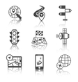 Mobile navigation icons black and white vector image vector image
