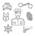 Police officer or policeman profession sketch icon vector image