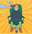 pop art young boy getting a haircut barber shop vector image