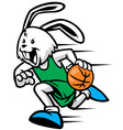rabbit play basketball vector image vector image