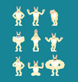 rabbit set poses and motion hare happy and yoga vector image