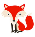 red fox on white background vector image vector image