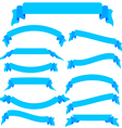 Set blue ribbons and banners vector image vector image