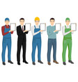 set of men with a digital tablet vector image vector image