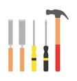 set wood processing tools hand equipment vector image