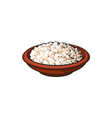 sketch cottage cheese in ceramic brown pot vector image