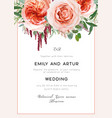 wedding invite card invitation coral blush peach vector image vector image