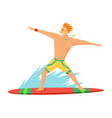 young man surfboarder riding a surfboard in the vector image vector image