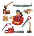 realistic of carpentry items vector image