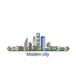 abstract modern city flat line vector image