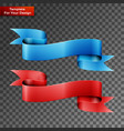 blue and red ribbons on transparent background vector image vector image