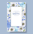 blue anemone frame vector image vector image