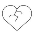 broken heart thin line icon love and broke vector image vector image