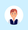 carroty freckles man face happy portrait on blue vector image