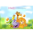 Cartoon animals Birthday greeting card vector image vector image