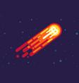 cartoon comet with bitcoin vector image vector image