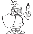 Cartoon knight holding a shield and a pencil vector image vector image