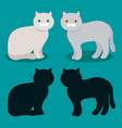 cat flat cartoon icons black outline vector image