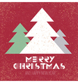 christmas poster retro red with xmas tree vector image