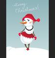 Christmas snowman girl vector image vector image