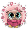 cute cartoon owl with flowers vector image vector image