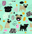 cute dogs seamless pattern childish background vector image vector image